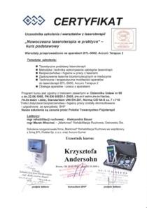 CERTYFIKAT uczestnika szkolenia i warsztatów z Laseroterapii.